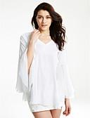 preiswerte T-Shirt-Damen Solide - Street Schick Übergrössen Bluse, V-Ausschnitt Schößchen / Aufflackern-Hülsen