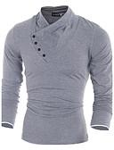 preiswerte Herren T-Shirts & Tank Tops-Herrn Solide - Chinoiserie Baumwolle T-shirt, V-Ausschnitt Schwarz L / Langarm