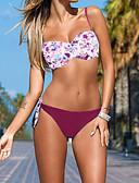 cheap Women's Swimwear & Bikinis-Women's Strap Blue Wine Bandeau Cheeky Bikini Swimwear - Floral Bow M L XL / Sexy