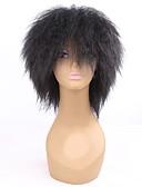 preiswerte Tanzzubehör-Synthetische Perücken Locken Synthetische Haare Afro-amerikanische Perücke Schwarz Perücke Damen Mittlerer Länge Kappenlos Schwarz