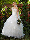 cheap Wedding Dresses-Ball Gown One Shoulder Floor Length Organza Made-To-Measure Wedding Dresses with Beading / Appliques / Pick Up Skirt by LAN TING BRIDE®