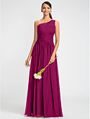 cheap Bridesmaid Dresses-Sheath / Column One Shoulder Floor Length Chiffon Dress with Beading / Sash / Ribbon / Side Draping by LAN TING BRIDE®