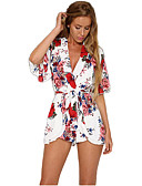 cheap Women's Jumpsuits & Rompers-Women's Holiday / Going out Vintage Romper - Floral High Rise V Neck / Summer / Floral Patterns