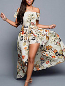 cheap Women's Dresses-Women's Holiday / Beach Swing Dress - Floral Print Maxi Off Shoulder / Summer / Floral Patterns