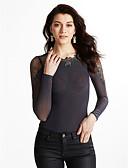 baratos Blusas Femininas-Mulheres Camiseta - Para Noite Sólido / Outono