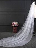 cheap Wedding Dresses-Two-tier Cut Edge Wedding Veil Cathedral Veils with Pearl Tulle / Classic