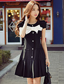 cheap Women's Skirts-Women's Bow Daily / Holiday / Going out Street chic / Sophisticated A Line / Sheath / T Shirt Dress - Color Block Bow / Ruched / Pleated Summer Black M L XL