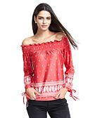baratos Blusas Femininas-Mulheres Camiseta Moda de Rua Franzido Estampado Decote Canoa
