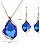 cheap Women's Blouses-Women's Crystal Jewelry Set - Rose Gold, Crystal, Rhinestone Drop Fashion Include Drop Earrings / Pendant Necklace / Necklace / Earrings Red / Green / Blue For Wedding / Party / Daily