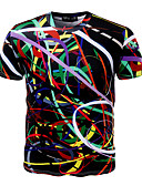 preiswerte Herren T-Shirts & Tank Tops-Herrn Geometrisch - Aktiv Sport Übergrössen Baumwolle T-shirt, Rundhalsausschnitt Schlank Druck / Kurzarm
