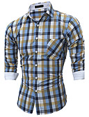 cheap Men's Shirts-Men's Cotton Shirt - Plaid Classic Collar