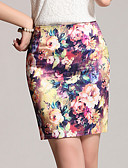 cheap Women's Skirts-Women's Plus Size Bodycon Skirts - Color Block Print