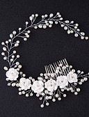 cheap Wedding Veils-Tulle Tiaras / Hair Combs / Flowers with Feather 1 Event / Party Headpiece