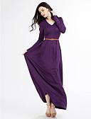 お買い得  プラスサイズドレス-女性用 プラスサイズ ビーチ スウィング ドレス ソリッド マキシ ハイライズ Vネック