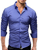 cheap Men's Shirts-Men's Active / Street chic Slim Shirt - Solid Colored / Long Sleeve