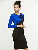 abordables Vestidos de Mujer-Mujer Trabajo Corte Bodycon Vestido - Lazo, Bloques Hasta la Rodilla / Primavera / Otoño
