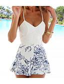 preiswerte Damen Overalls & Strampler-Damen Boho Jumpsuit - Spitze Druck, Blumen Gurt Hohe Taillenlinie