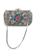 billige Nattøy til damer-Dame Poser Satin / Metall Aftenveske Inngravert Regnbue / Rhinestone Crystal Evening Bags / Rhinestone Crystal Evening Bags