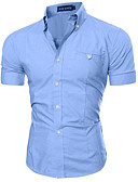 cheap Men's Shirts-Men's Slim Shirt - Solid Colored Basic Button Down Collar / Short Sleeve