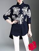 cheap Women's Shirts-Women's Work Chinoiserie Shirt - Floral Print Shirt Collar / Spring / Summer
