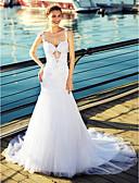 baratos Vestidos de Casamento-Sereia Correias Cauda Capela Tule Vestidos de casamento feitos à medida com Miçangas / Apliques de LAN TING BRIDE® / Pretíssimos