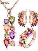 baratos Blusas Femininas-Mulheres Zircônia Cubica Fio Único Conjunto de jóias - Zircão Fashion, EUA Incluir Brincos Curtos Colar Anel Vermelho Para Casamento Festa Aniversário / Noivado