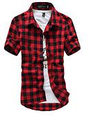 baratos Camisas Masculinas-Homens Camisa Social Temática Asiática Quadriculada Algodão Colarinho Clássico / Manga Curta
