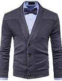 זול חולצות לגברים-מבוגרים L / XL / XXL אודם / אפור כהה / כחול נייבי צווארון V סתיו / חורף צמר / חוטי זהורית / פוליאסטר, קרדיגן רגיל רגיל שרוול ארוך אחיד יומי / סוף שבוע בגדי ריקוד גברים