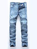 preiswerte Herren-Hosen und Shorts-Herrn Übergrössen Baumwolle Gerade / Schlank / Jeans Hose - Ripped, Solide / Patchwork