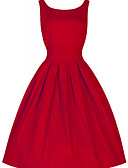 cheap Vintage Dresses-Women's Party / Daily Vintage / Street chic Skater Dress - Solid Colored Red Spring Cotton Green Black Red L XL XXL