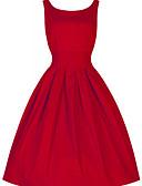 baratos Vestidos de Mulher-Mulheres Vintage Moda de Rua Algodão Rodado Vestido Sólido Cintura Alta Acima do Joelho Vermelho