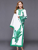 baratos Vestidos Femininos-Mulheres Temática Asiática Kaftan Vestido - Fenda / Estampado Longo