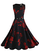 cheap Women's Dresses-Women's Vintage Cotton Sheath / Swing Dress - Floral Vintage Style / Slim