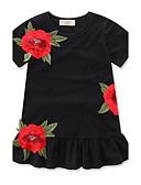 cheap Girls' Dresses-Girl's Floral Fashion Dress, Cotton Summer Short Sleeves Ruffle Black