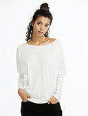 cheap Women's Dresses-Women's Cotton T-shirt - Solid Colored Boat Neck / Fall / Winter