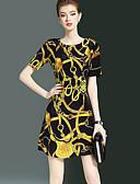 baratos Blusas Femininas-Mulheres Moda de Rua Evasê Vestido - Estampado Acima do Joelho