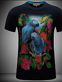 cheap Men's Hoodies & Sweatshirts-Men's Slim T-shirt - Animal Chiffon Round Neck / Short Sleeve