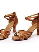 baratos Quartz-Mulheres Sapatos de Dança Latina Seda Sandália Pedrarias Salto Personalizado Personalizável Sapatos de Dança Marron / Interior / Couro