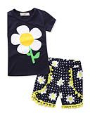 お買い得  女児 ウェアセット-幼児 女の子 フローラル 幾何学模様 / ファッション 半袖 レギュラー レギュラー コットン100% アンサンブル ネービーブルー