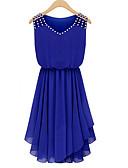 baratos Vestidos Femininos-Mulheres Para Noite Moda de Rua Chifon Vestido Sólido Decote V Acima do Joelho Azul