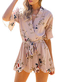 cheap Women's Jumpsuits & Rompers-Women's Going out / Holiday Romper - Floral V Neck