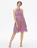 זול שמלות שושבינה-גזרת A עם תכשיטים באורך  הברך שיפון שמלה לשושבינה  עם סרט / קפלים על ידי LAN TING BRIDE®