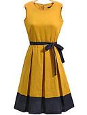 お買い得  レディースドレス-女性用 プラスサイズ お出かけ コットン シース ドレス ソリッド 膝丈