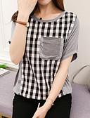 baratos Calças Femininas-Mulheres Camiseta Estilo Clássico, Quadriculada Algodão / Verão / Outono