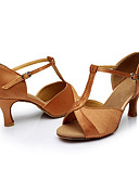 cheap Women's Dresses-Women's Latin Shoes Silk Sandal Customized Heel Customizable Dance Shoes Brown / Indoor / Leather