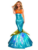 cheap Maxi Dresses-Princess Mermaid Tail Fairytale Cosplay Costume Party Costume Women's Christmas Halloween Carnival Festival / Holiday Terylene Blue Carnival Costumes Vintage