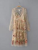 זול שמלות נשים-צווארון V מידי רשת, רקמה - שמלה משוחרר / ישרה כותנה מתוחכם ליציאה בגדי ריקוד נשים / אביב / קיץ / סתיו