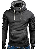 cheap Men's Hoodies & Sweatshirts-Men's Active Long Sleeve Slim Hoodie - Solid Colored / Embroidered Hooded