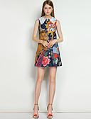cheap Women's Dresses-Women's Going out / Beach Street chic A Line Dress - Floral / Animal Flower Shirt Collar