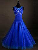 baratos Vestidos Baile Formatura-Dança de Salão Vestidos Mulheres Elastano / Organza Cristal / Strass Sem Manga Vestido
